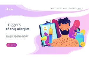 Drug allergy concept landing page.