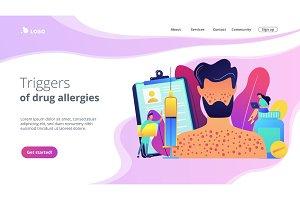 Drug allergy concept landing page.