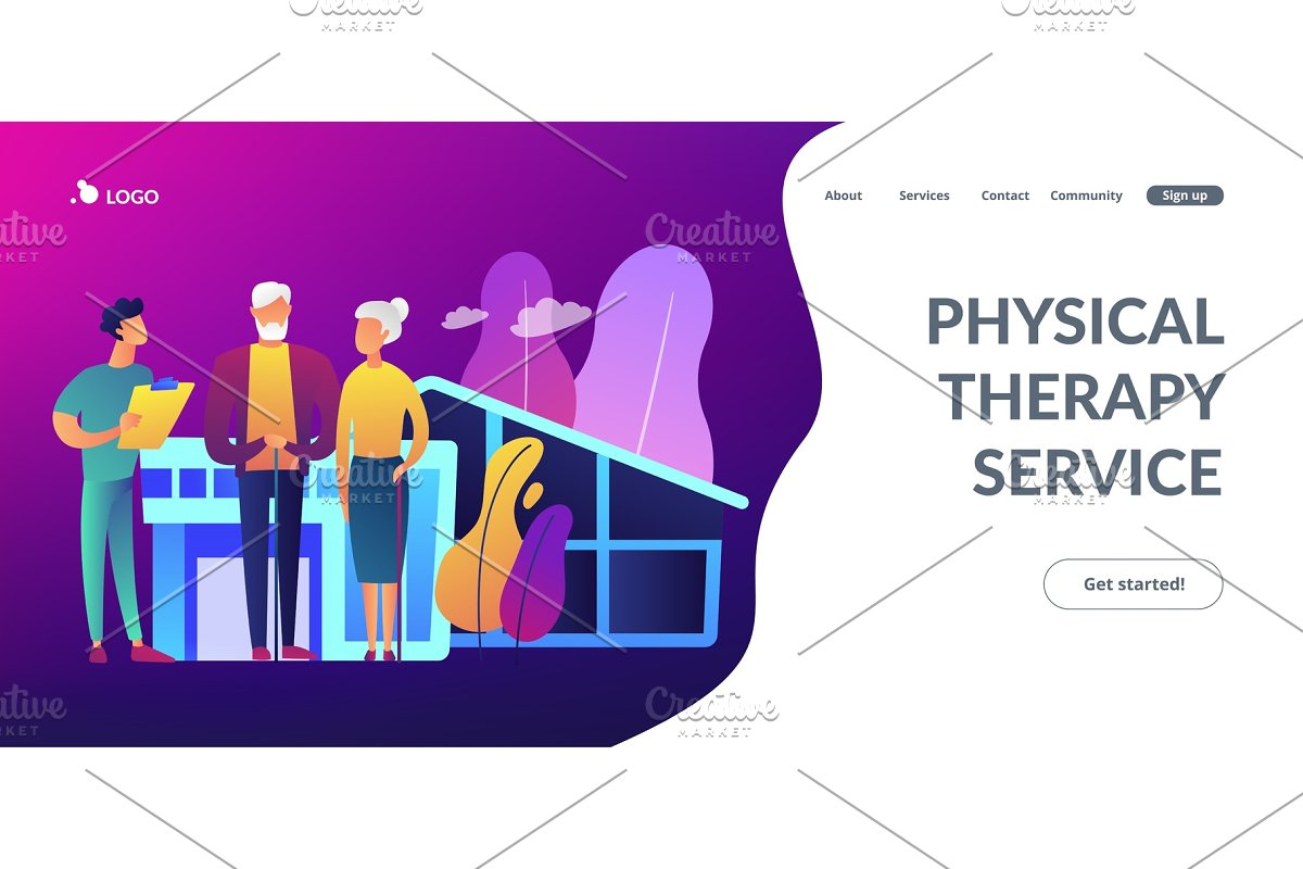 Nursing Home Concept Landing Page Illustrations