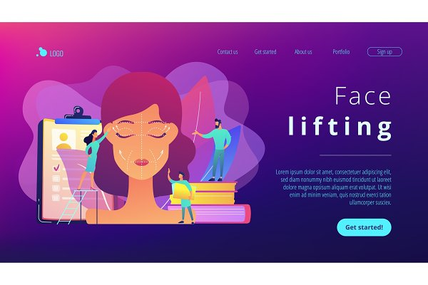 Face lifting concept landing page.