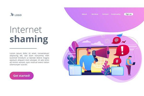 Internet shaming concept landing