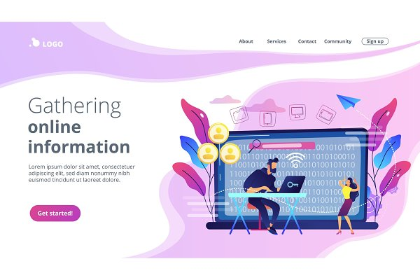 Doxing concept landing page.