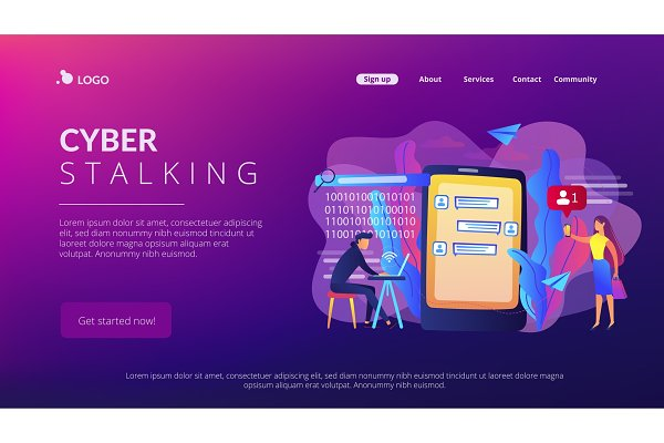 Cyberstalking concept landing page.