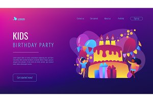 Kids birthday concept landing page.