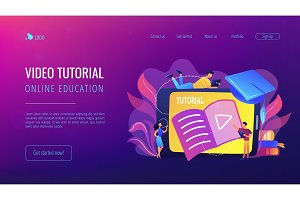 Video tutorial concept landing page.