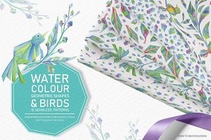Watercolour Geometric Bird Patterns