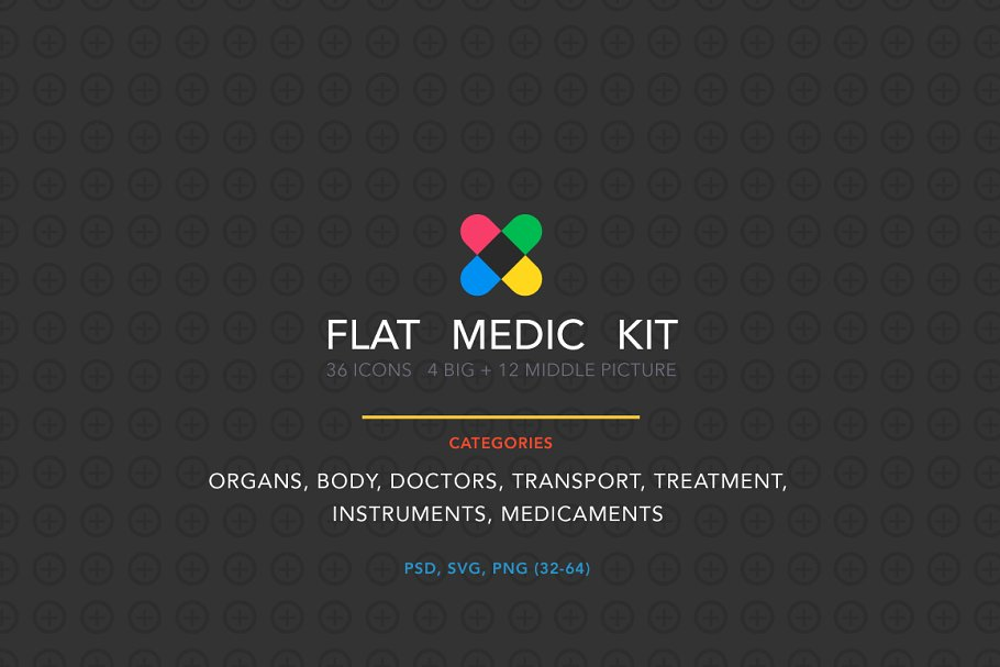 Flat medic icon and illustration kit ~ Icons ~ Creative Market