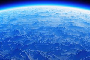 Mountain planet aerial view from orb