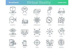 Set of black outline virtual reality