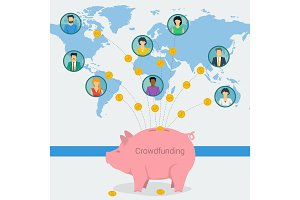 Crowdfunding concept web banner