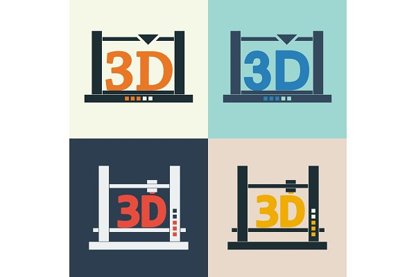 3d printer vector icons set pre designed vector graphics creative market 3d printer vector icons set