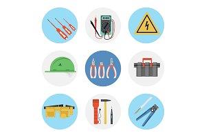 Nine color flat icon set -
