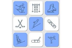 Nine Icons - winter sport activities