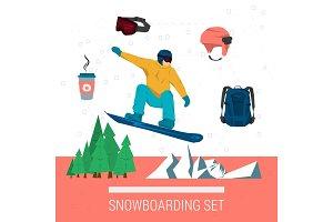 Vector set snowboarding sport