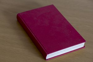 A red book closed on the table