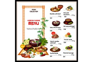 Korean cuisine menu, national food
