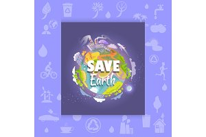 Save Earth Poster with Polluted