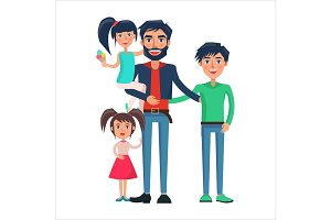 Happy Father of Many Children Vector