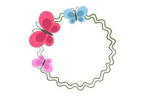 Round Frame with Butterflies