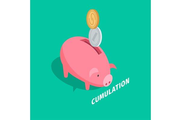 Money Accumulation Isometric Vector