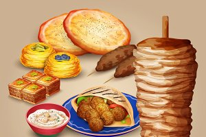 Arabic food set