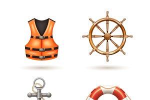 Marine realistic icons set