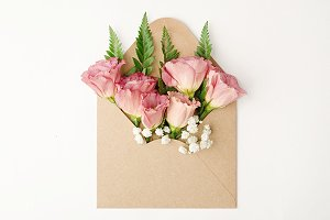 Pink Flowers, Brown Envelop