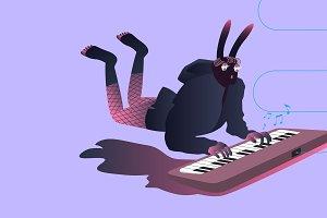 Illustration of surreal musicians