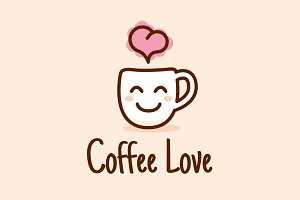 Coffee Love Cute Logo Design