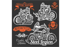 Set of Vintage motorcycle t-shirt