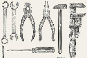 Illustration of a set of mechanic