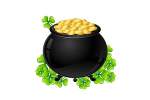 Saint Patricks Day illustration. Pot