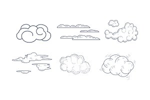 Vector set of monochrome clouds of