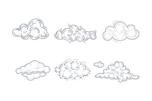 Vector set of fluffy clouds in