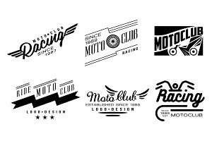 Vector set of 6 vintage logos for