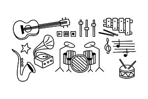 Set of musical instruments, player
