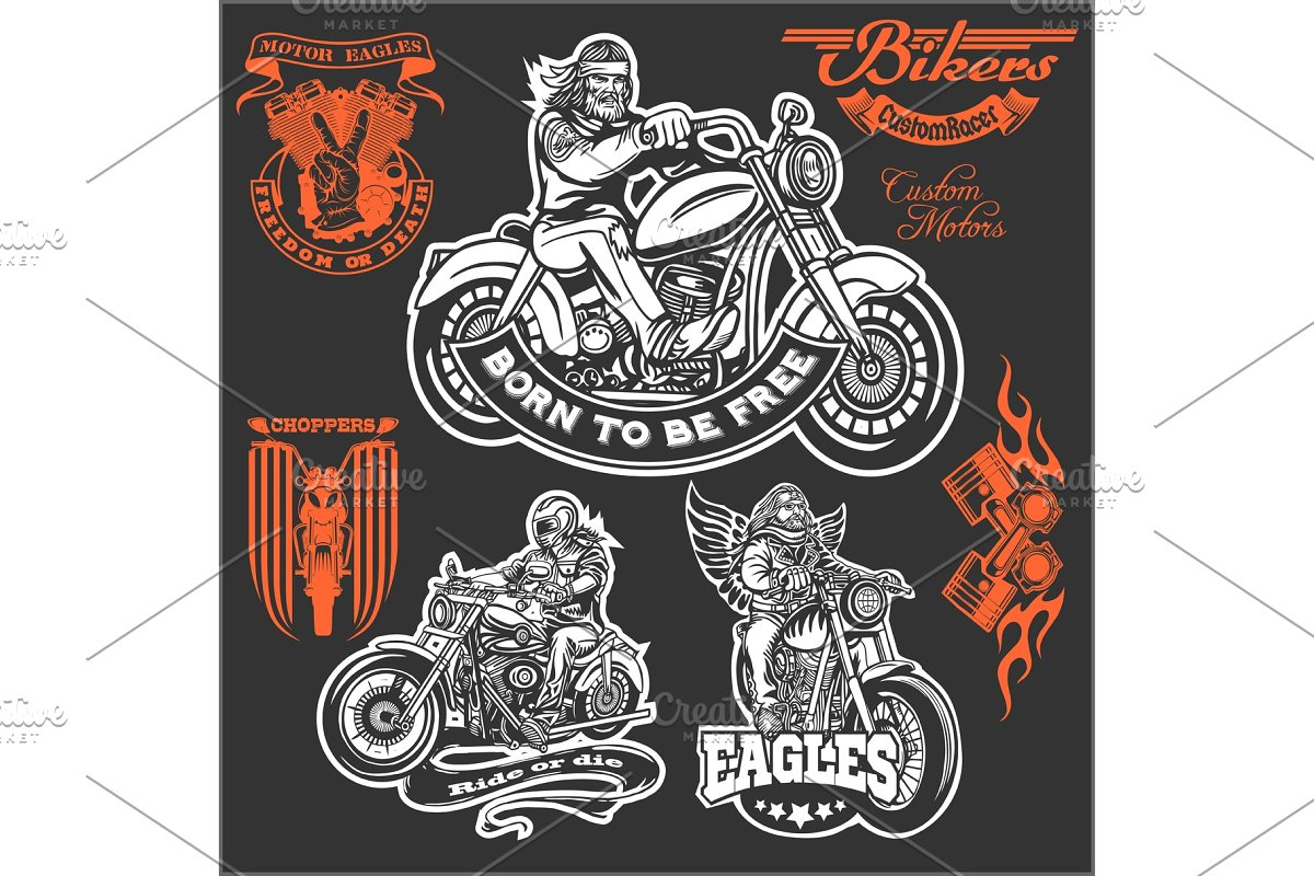 Set Of Vintage Motorcycle T Shirt