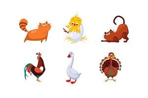 Cute cartoon farm animals and pets