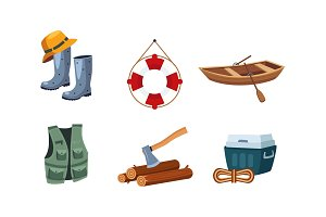 Fishing and camping icons set