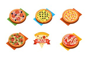 Collection of whole pizza with