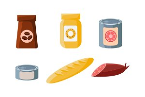 Food icons set, packaging of coffee