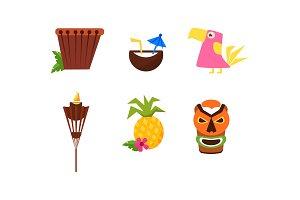 Symbols of Hawaiian culture set