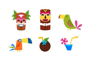 Hawaiian symbols set, summer
