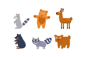 Collection of wild forest animals