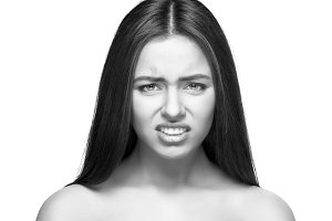 beautiful caucasian woman angry