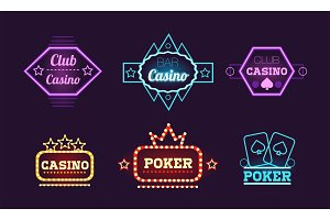 Collection of neon signs, casino