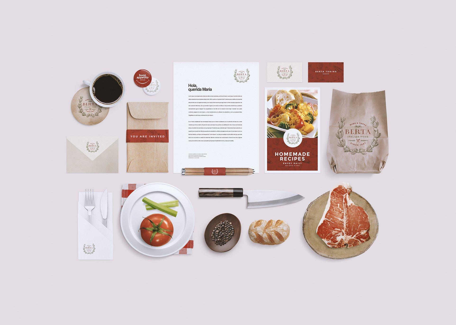 Restaurant Food Identity Mockup Branding Mockups