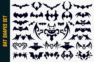 Bat Vector Shapes Set for Halloween