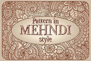 Floral patterns in mehndi style