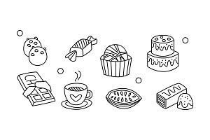 Vector set of hand drawn sweet food